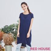 Red House 蕾赫斯-虛邊長版針織衫(藍色)