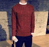 男士毛衣潮流圓領韓版毛衫針織衫修身線衣男裝衣服   琉璃美衣
