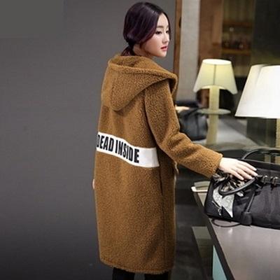 毛呢外套-寬鬆純色羊毛中長款女連帽大衣2色72at22[巴黎精品]