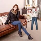 牛仔褲--顯瘦三角立釦鉚釘造型窄管牛仔長褲(S-XL)-N68眼圈熊中大尺碼◎