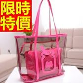 手提包-透明繽紛防水可肩背女果凍包3色57a32【巴黎精品】