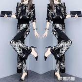 夏季時尚套裝女2019新款韓版氣質印花一字肩上衣休閒闊腿褲兩件套『艾麗花園』