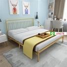 【特惠】簡約現代鐵藝床1.8米雙人北歐網紅輕奢鐵架床1.2m公主兒童單人床【頁面價格是訂金價格】