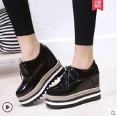 厚底鞋 內增高鬆糕鞋單鞋坡跟高跟2019春季黑色小皮鞋子-完美