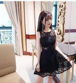 性感夜店禮服小黑裙鏤空蕾絲連身裙