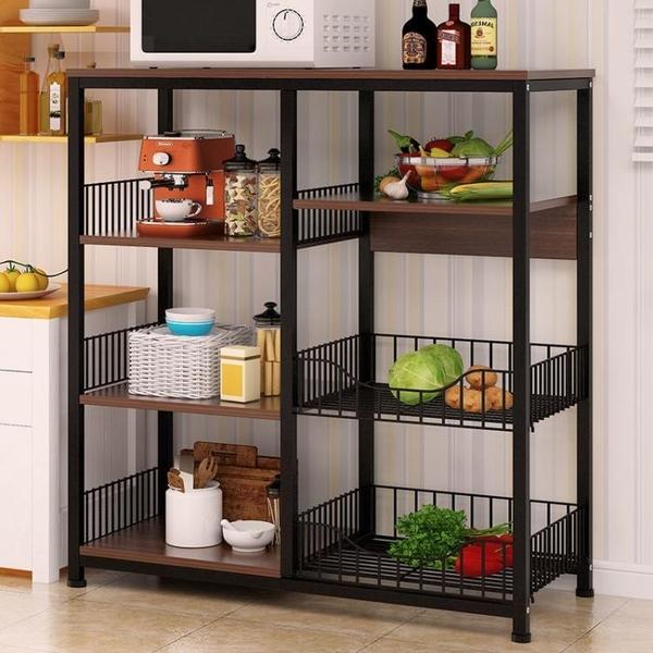 櫥櫃 廚房置物架落地式多層置物架微波爐蔬菜收納架子碗架廚房儲物柜