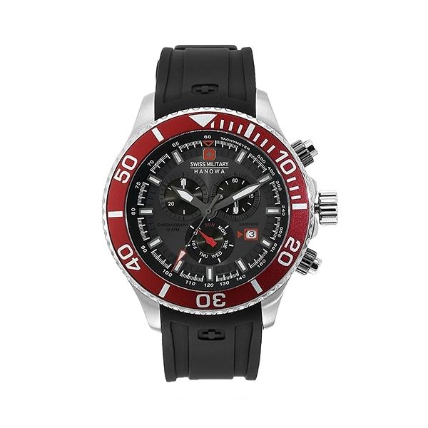 【SWISS MILITARY HANOWA】IMMERSION瑞士錶三眼計時矽膠錶-亮眼紅SM14221XSTUBK.H05S台灣總代理公司貨兩年保固