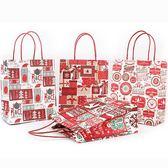 【BlueCat】聖誕節滿滿拼貼雪花禮物貓紅色手提袋(小)
