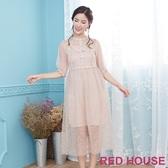 Red House 蕾赫斯-花朵透膚蕾絲洋裝(共3色)-單一特價