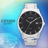CITIZEN 星辰 手錶專賣店 BD0041-89E 石英錶 男錶 不鏽鋼錶帶 礦物玻璃 防水50米 黑面