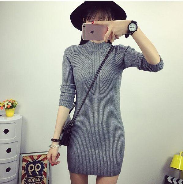 【PU08】加厚螺紋半高領套頭毛衣針織衫女長袖中長款修身包臀打底衫 均碼~灰色