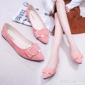 韓版尖頭單鞋女豆豆鞋百搭女鞋平跟平底淺口舒適休閒鞋 格蘭小鋪