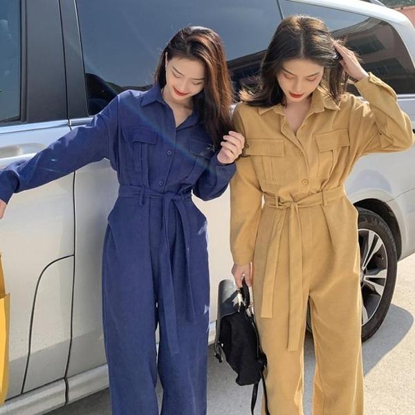 連身褲工裝連體褲女春裝2021年新款韓版寬鬆時尚連衣褲休閒直筒寬管褲子 艾莎