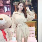 2018秋季新款韓版氣質翻領九分袖中長款上衣單排扣收腰顯瘦襯衫女