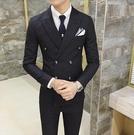 找到自己品牌 韓國男 細條紋 雙排扣 小西裝 修身西裝 西裝外套 單件外套