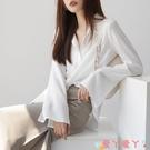 雪紡衫 雪紡襯衫女長袖春裝2021新款寬鬆韓版設計感小眾上衣喇叭袖白襯衣 愛丫 新品