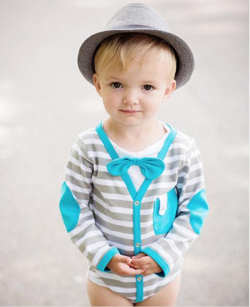 【美國 RuffleButts】長袖包屁衣-帥氣小領結藍白條紋純棉款 B1KGWXX-BLLS
