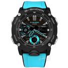 G-SHOCK CASIO / GA-2000-1A2 / 卡西歐 強悍風格 雙顯 計時碼錶 防水200米 運動衝浪 橡膠手錶 黑藍色 46mm