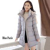 藍色巴黎 ★ 秋冬 保暖加厚連帽拉鍊中長版風衣外套大衣《2色 》【28636】
