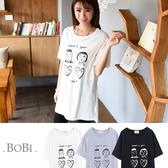短袖T恤 韓版簡約個性手繪風印花T恤短袖上衣【MZM9104】 BOBI  03/17