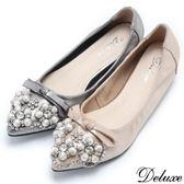 【Deluxe】全真皮珍珠蝴蝶結水鑽尖頭增高包鞋(金☆灰)