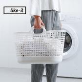 【日本like-it】北歐便攜手提洗衣收納籃白