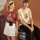 夏季情侶裝夏裝短袖T恤男韓版卡通圖案純棉寬版半袖【時尚大衣櫥】