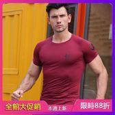 短袖背心 緊身衣套裝運動健身衣短袖速干衣訓練服T恤上衣肌肉兄弟健身服男 熱銷88折
