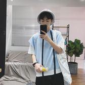 2018夏季學生假兩件短袖T恤男士寬鬆連帽半袖韓版青少年潮流衛衣   mandyc衣間