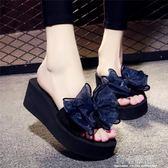 夏季涼拖鞋女外穿高跟一字拖蝴蝶結防滑坡跟厚底海邊度假沙灘鞋  莉卡嚴選