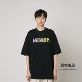 夏季青少年簡約寬鬆圓領短袖T恤字母印花男女【聚物優品】