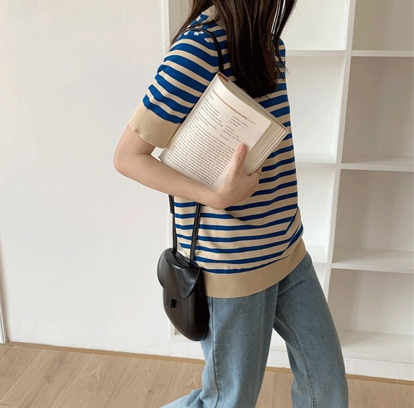 EASON SHOP(GQ1933)韓版漸層感撞色橫條紋彈力修身圓領短袖針織衫T恤女上衣服合身貼肩顯瘦內搭衫薄款