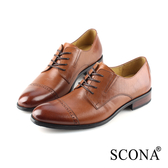 SCONA 蘇格南 全真皮 都會免拆綁帶紳士鞋 棕色 0861-2