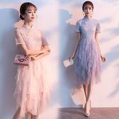 大尺碼洋裝 大碼旗袍女裝2019夏新款短袖蕾絲網紗連身裙減齡