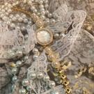 vintage中古小香眾輕奢復古文藝珍珠手鏈貝母盤手表禮物海達豪力【小獅子】