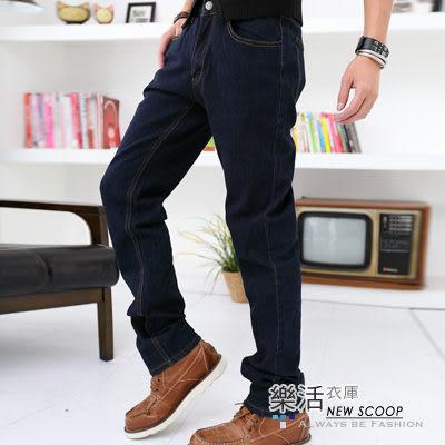 韓風原色彈力小直筒牛仔褲(深藍) 樂活衣庫【6711】