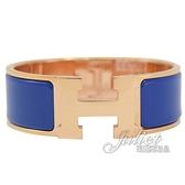 茱麗葉精品【全新現貨】HERMES CLIC H LOGO 琺瑯寬版手環.玫瑰金/鈷藍