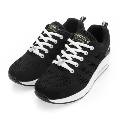 PLAYBOY簡約生活 針織綁帶氣墊休閒鞋-黑白