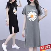 時尚印花開衩洋裝(2色) M~3XL【103512W】【現+預】-流行前線-