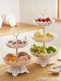歐式三層水果盤客廳家用蛋糕盤塑料糖果盤創意現代客廳收納水果籃   圖拉斯3C百貨