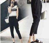 孕婦褲子薄款外穿2018新款寬鬆大碼托腹休閑哈倫雪紡九分褲夏裝 QG568『愛尚生活館』