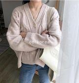 v領 粗針織麻花毛衣外套 CC KOREA ~ Q18612