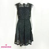 【SHOWCASE】氣質繡花領蕾絲透背及膝洋裝(黑)