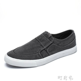 夏季帆布鞋男透氣一腳蹬懶人鞋韓版潮流鞋子休閒鞋防臭老北京布鞋町目家