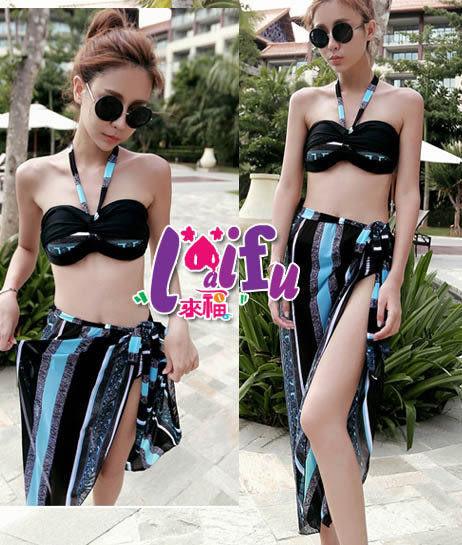 ★草魚妹★C147藍色波浪條紋顯瘦遮小肚肚三件式泳衣游泳衣泳裝比基尼,售價960元