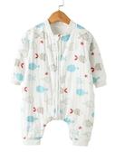 嬰兒睡袋秋冬季加厚款純棉寶寶分腿兒童薄款紗布防踢被四季通用