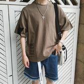 夏季韓版棉麻印花圓領短袖t恤男加大碼青少年潮流五分袖上衣男裝   麥吉良品