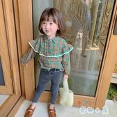 女童格子襯衫韓版兒童襯衣國小寶寶時尚長袖上衣【奇趣小屋】