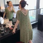 夏季睡裙女莫代爾棉薄款甜美短袖睡衣小性感露背中長款連身裙【貼身日記】