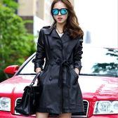 卡樂store...中大尺碼韓版皮衣批發零售長版PU皮皮衣外套附腰帶黑色 M-5XL #oi12078